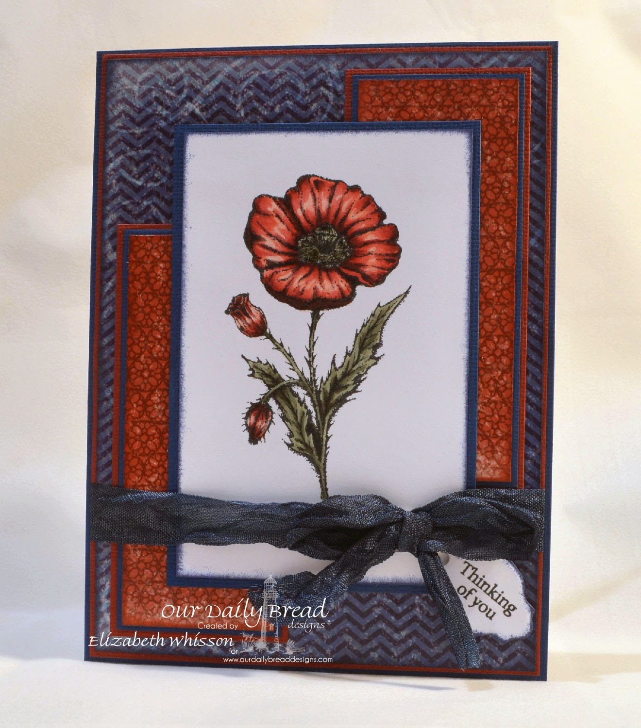 Our Daily Bread Designs, Mother's Day, Mini Tag, ODBD Mini Tag Dies, Patriotic Collection, Designed by Elizabeth Whisson, copics, poppy, thinking of you, handmade card