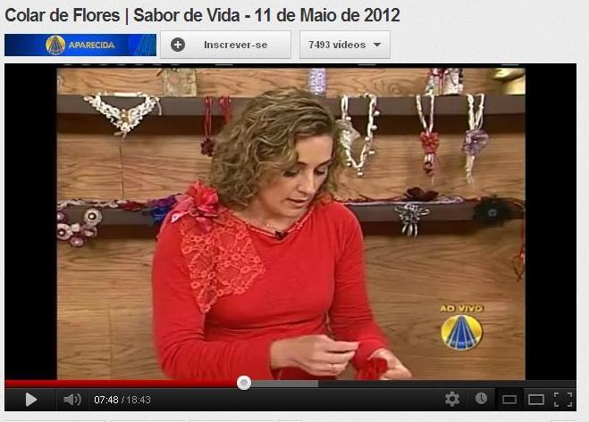 Aparador Ouro Branco Brilhantes ~ Renata Mancilha Arte& Flores Colar Sabor de Vida Programa Sabor de Vida TV Aparecida