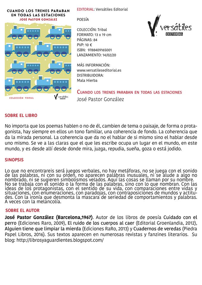 """""""cuando los trenes paraban en todas las estaciones"""" josé pastor gonzález (Versátiles Editorial)"""
