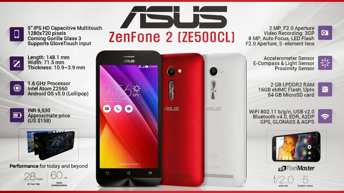 Asus Zenfone 2 ZE550ML Black Red White