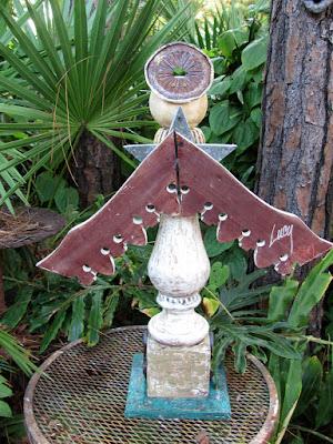 mixed media wooden angel sculpture
