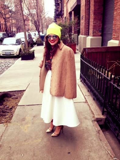 OliviaInkster, girl from Memphis stylist writer, wearing a cape, camel vintage cape coat, how to wear vintage, winter capes, neon beanie hat, how to wear neon accessories, bright colored hats, statement necklace, white midi skirt, winter white full skirt, vintage a-line ankle length skirt, ASOS full scuba skirt, skirt with pockets, python heels, snakeskin shoes, Rachel Roy python, Zara crop top, Zara black backless shirt, Zara backless crop top, wearing a crop top and skirt, mixing animal prints with floral, NYC streetstyle, New York City street style fashion, fashion week New York City outfit, trends for 2014, urban wear in NYC, Olivia Inkster, those kinds of girls, Olivia writer and stylist in New York