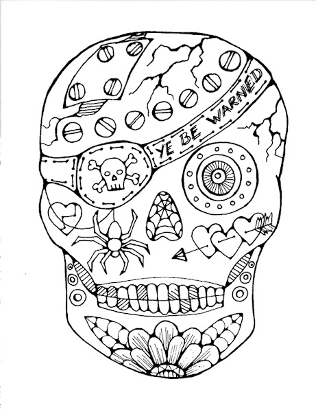 Pirate Sugar Skull Coloring Pages