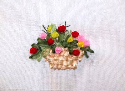 a basket of flower ribbon embroidery