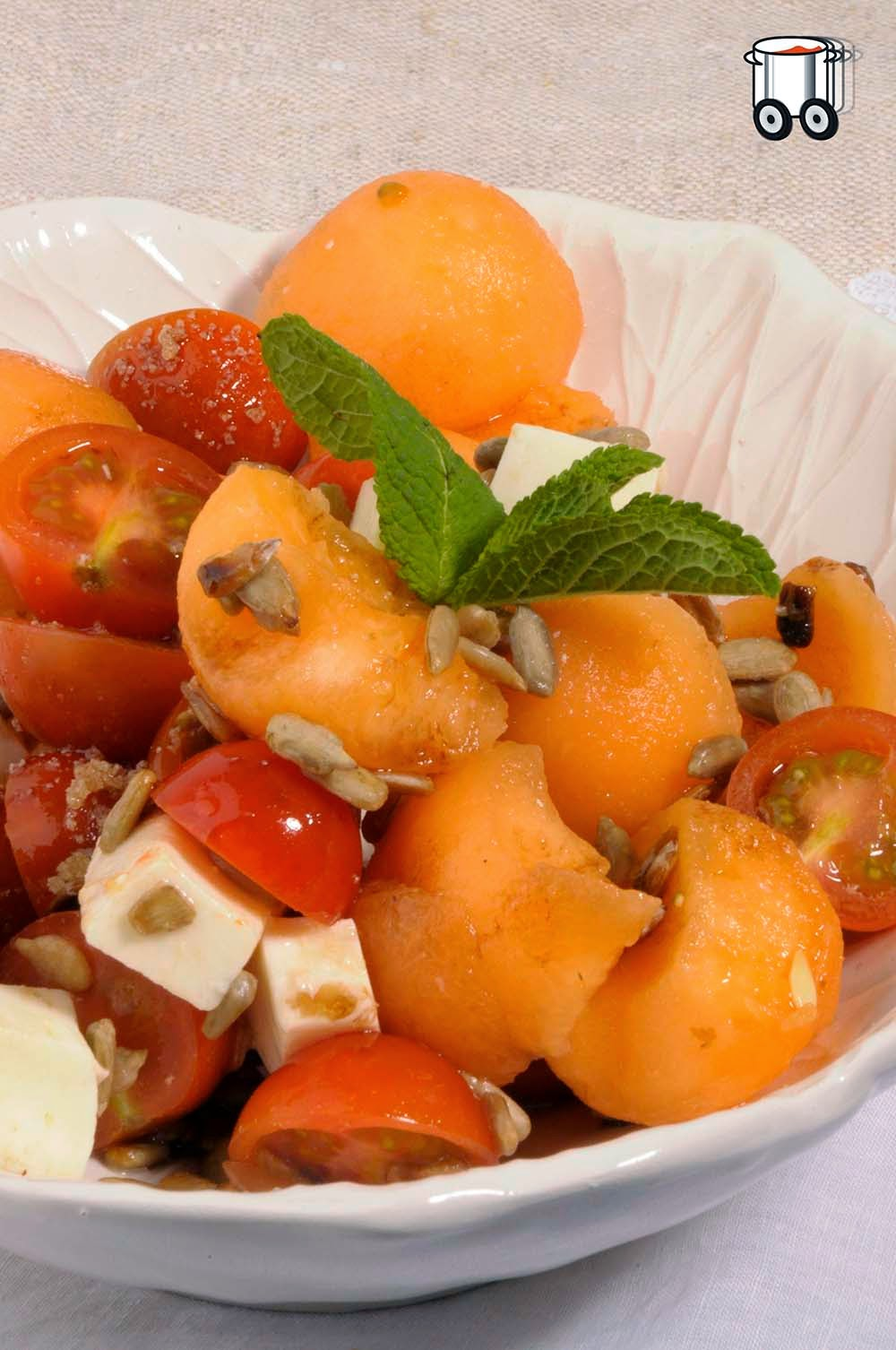Quick Cheap Tasty - Spring salad with melon, mozzarella and cherry tomatoes