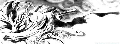 Couverture facebook noir et blanc manga
