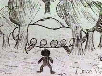 A large craft with a non-human being drawn by one of the children