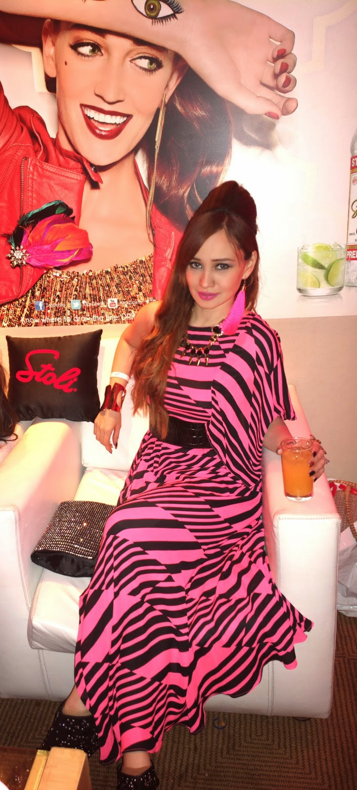 Black & Pink Maxi Dress at the Stoli Lounge at Lakme Fashion Week