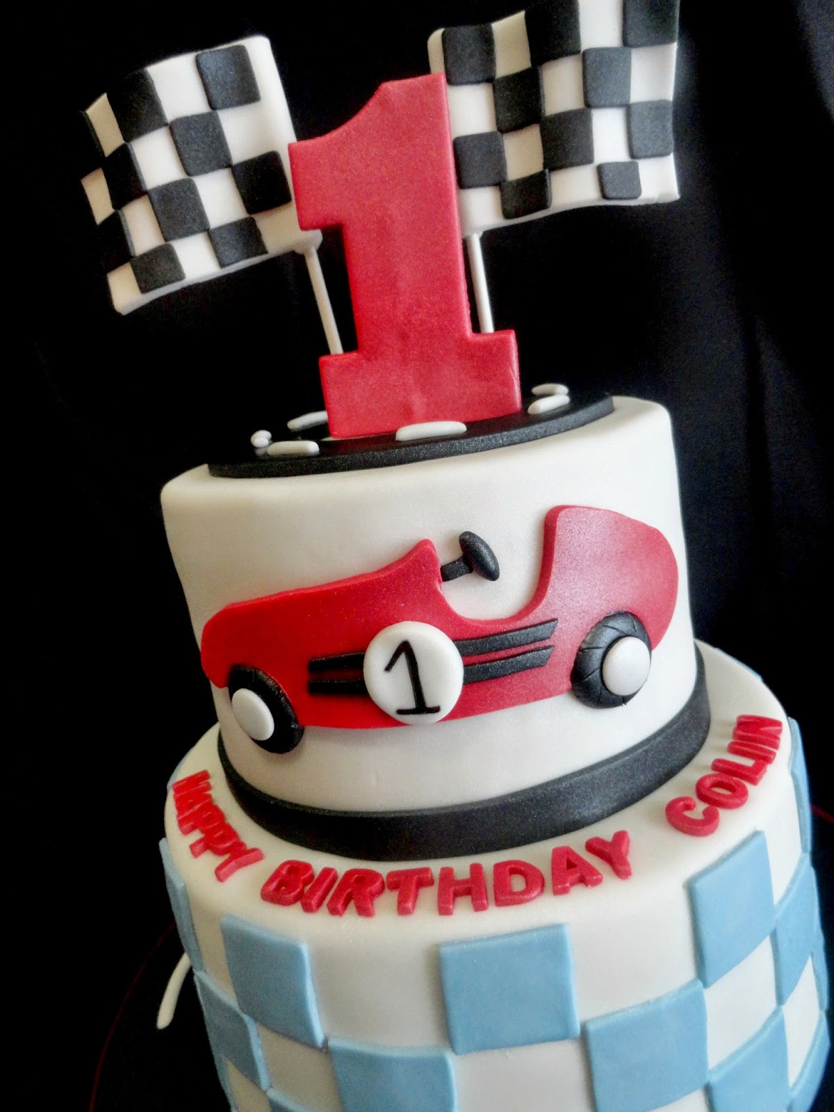 Pink Little Cake Race Car Theme 1st Birthday Cake