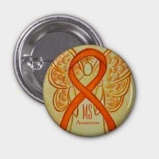 MS Awareness Ribbon Orange Angel Multiple Sclerosis Personalized Lapel Pins or Buttons