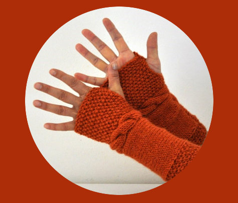 Hand Knit Burnt Orange Fingerless Gloves for Fall