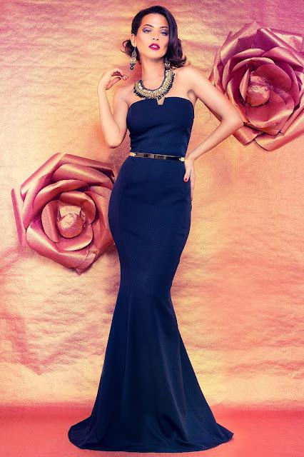 rochie lunga de seara albastra