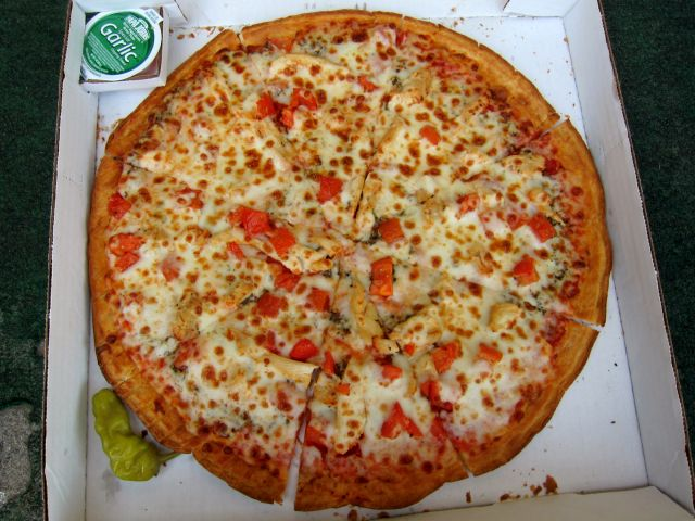 Papa Johns Grilled Chicken Margherita Pizza Is A Thin Crust With Combination Of Sauce Basil Pesto And Mozzarella Topped White Meat