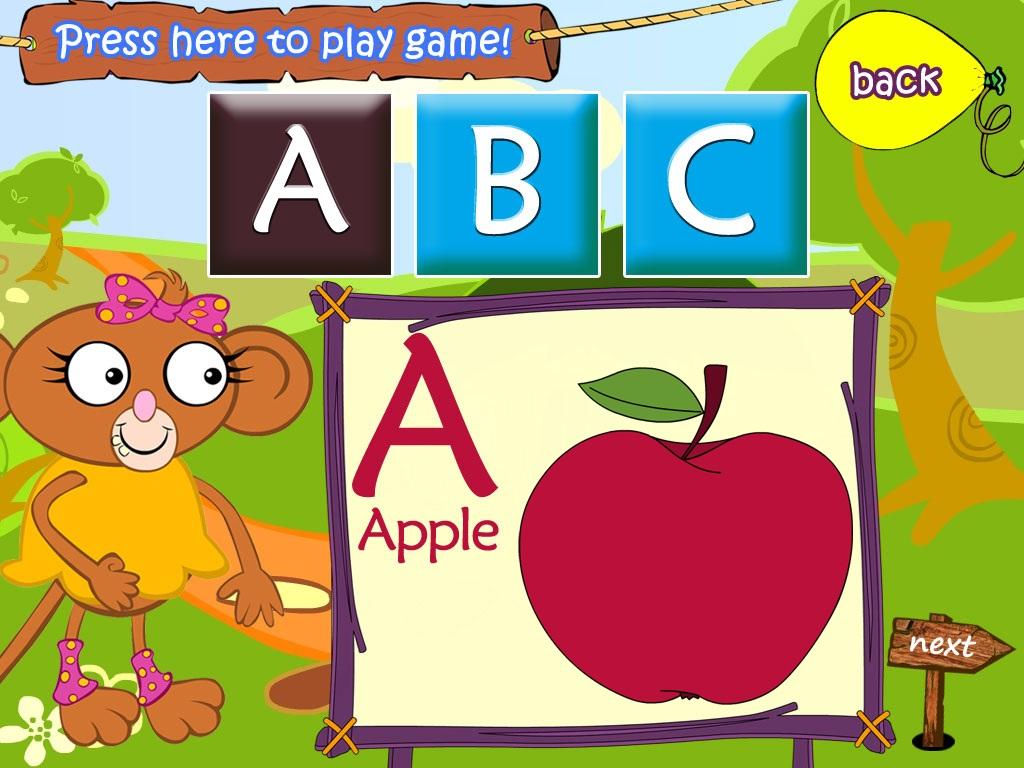 las diferentes letras del alfabeto y relacionándolas con objetos