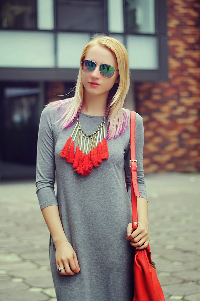 H&M gray dress fringe necklace H&M mirror sun glasses