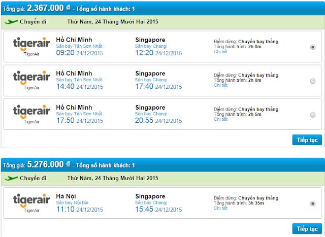 giá vé máy bay đi Singapore Tiger Air ngày 24-12