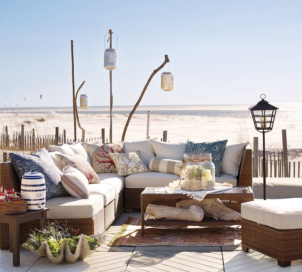 Outdoor garden furniture designs by pottery barn for Beach porch ideas