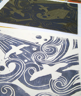 Carved lino and print of Seagulls in blue