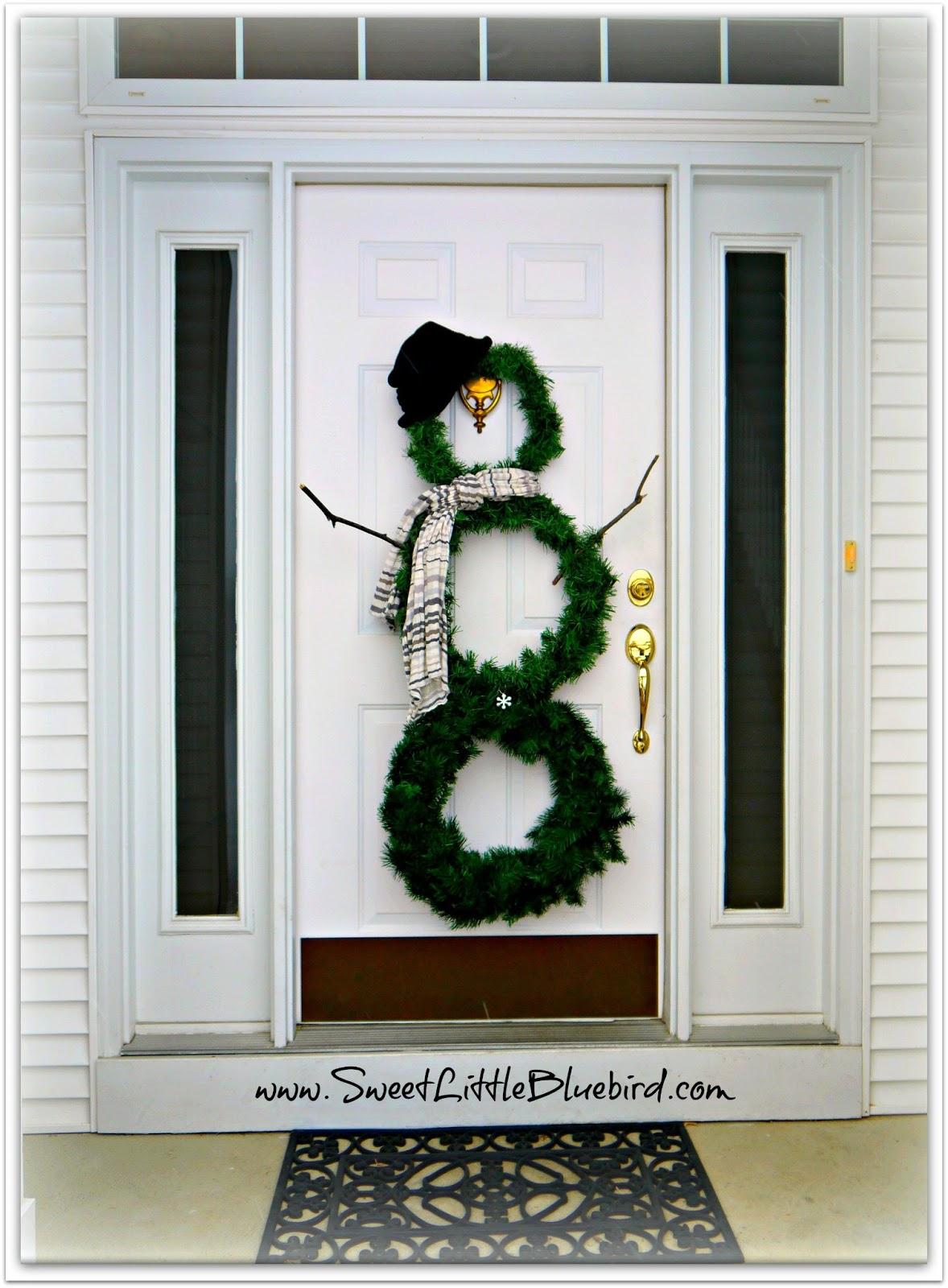 Diy winter wreaths for front door - I Love My Snowman Wreath