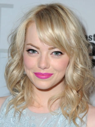 emma stone blonde bun. hairstyles dark londe hair