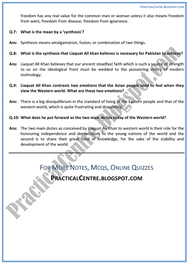 Pakistan-And-The-Modern-World-Prose-Questions-Answers-English-XII