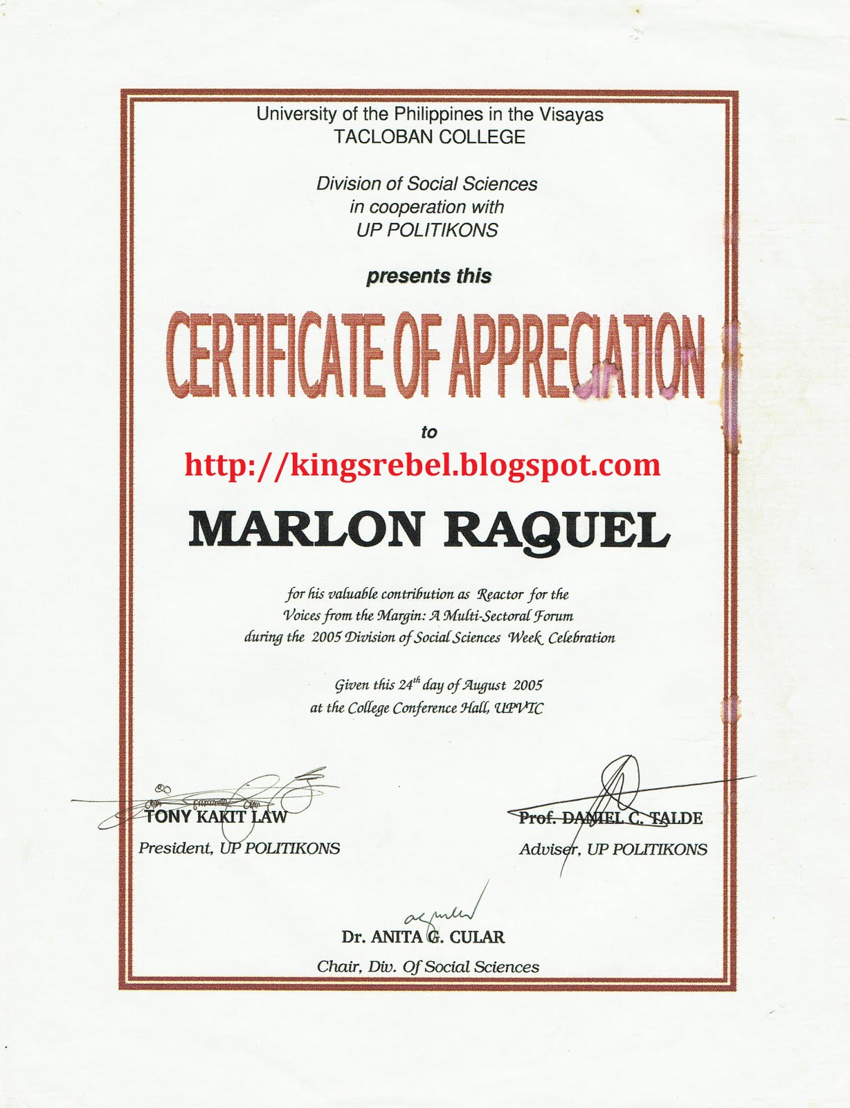 Tidbits and bytes 01012011 02012011 example of certificate of appreciation reactor voices from the margin a multi sectoral forum yadclub Gallery