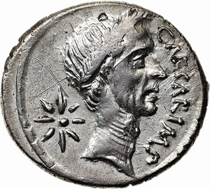 Picture of  Julius Caesar denarius with star behind bust