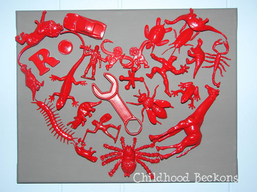 Heart collage made with small toys