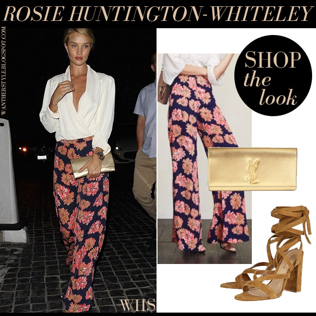 Rosie Huntington-Whiteley in white blouse, flower print trousers, gold Saint Laurent Cassandre clutch with brown suede sandals gianvito rossi what she wore june 22 outfit inspiration