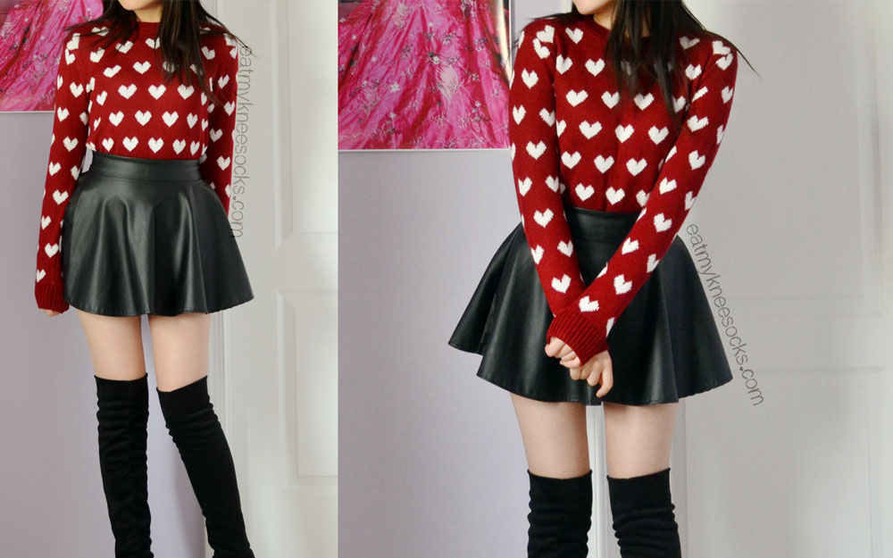 If you're a fan of ulzzang style and Korean fashion, check out Sweetbox Store and their cute clothing, like this wine red heart sweater.