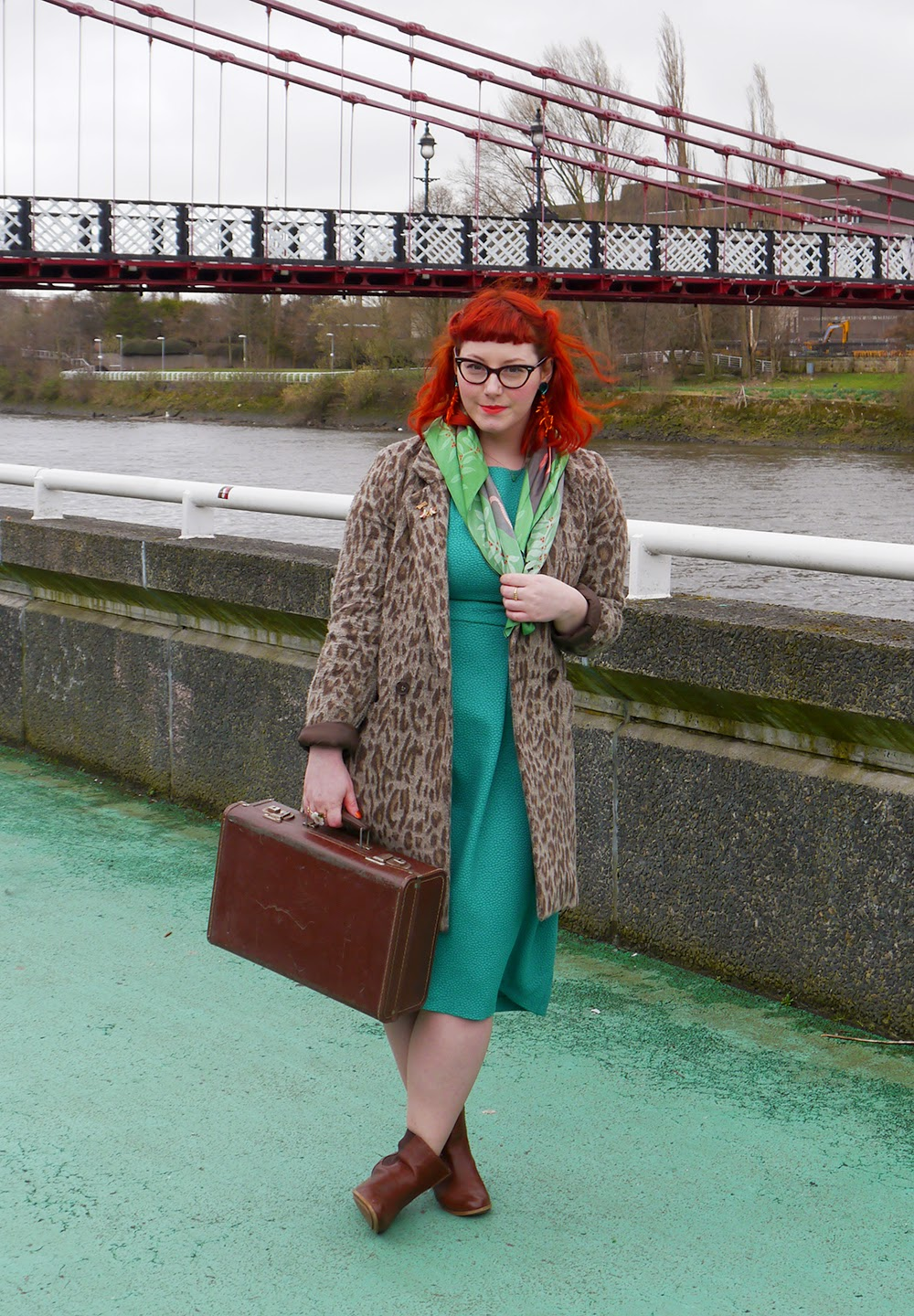 Glasgow, Girl Gang, Girl Gang Weekender, Glasgow, Clyde side, Scottish Bloggers, Scottish street style, styled by Helen, Creature Feature style, red head, red haired blogger, Lou Taylor ant earrings, H&M green dress, Karen Mabon scarf, Warehouse leopard print coat, vintage suitcase