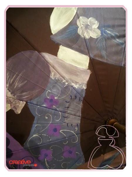 Detalles del paraguas modelo Menina de Sylvia López Morant realizado en tonos morados.