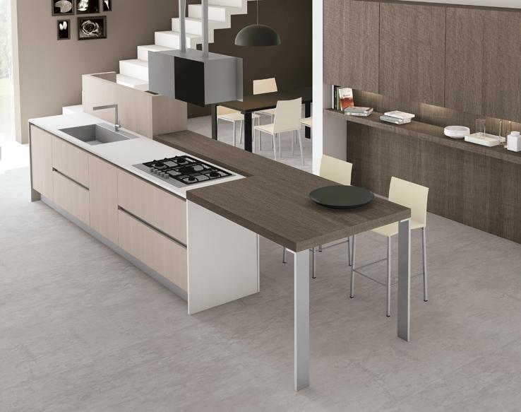 20 formas de incorporar una mesa en la cocina cocinas - Mesas auxiliares para cocina ...