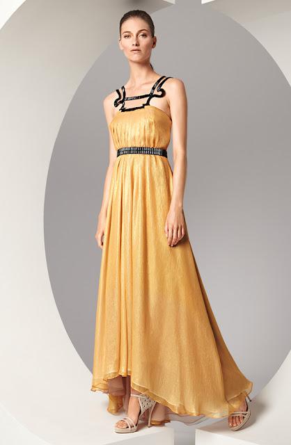 escada askılı sarı abiye modeli, gece elbisesi