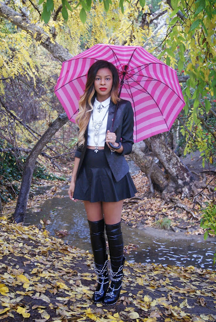 blazer, leather skirt, leather boots, ombre hair, allthingsslim,