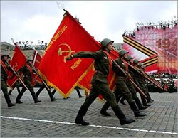 Soviet soldiers march in formation