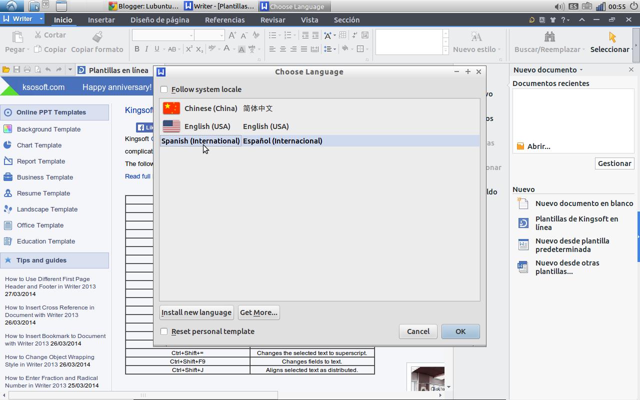kingsoft Office con Lubuntu | Lubuntu con javi