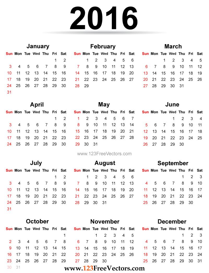 Microsoft Calendrier Mensuel 2016 A Imprimer | Calendar Template 2016