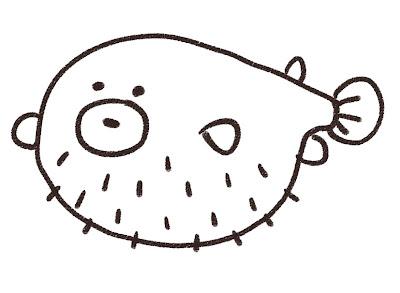 フグのイラスト(魚) モノクロ線画