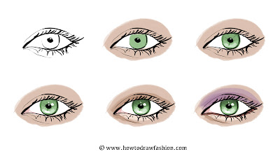 how to draw a dragon eye with colour