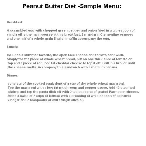 diet that allows the addition of Peanut Butter Diet butter on the menu