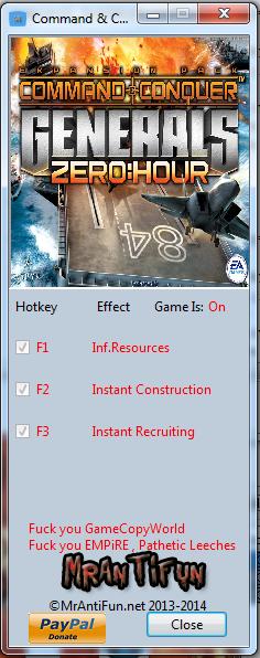 Читы / Command & Conquer: Generals Zero Hour: Трейнер/Trainer (+3) 1.04 MrAntiFun /