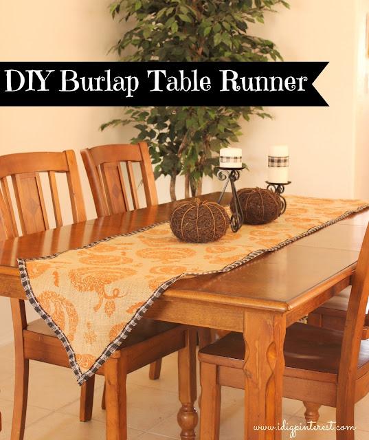 I dig pinterest easy diy burlap halloween table runner for Easy diy table runner