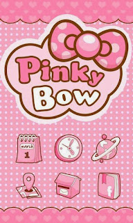 Screenshots of the PinkyBow GO Launcher Theme for Android mobile, tablet, and Smartphone.