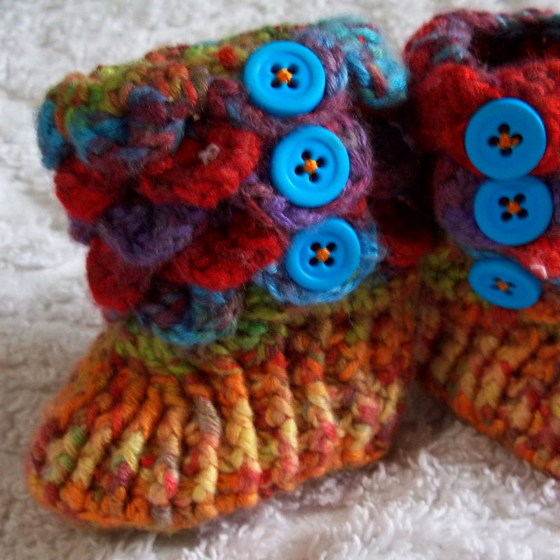 Yarn Over Crocodile Stitch Baby Booties