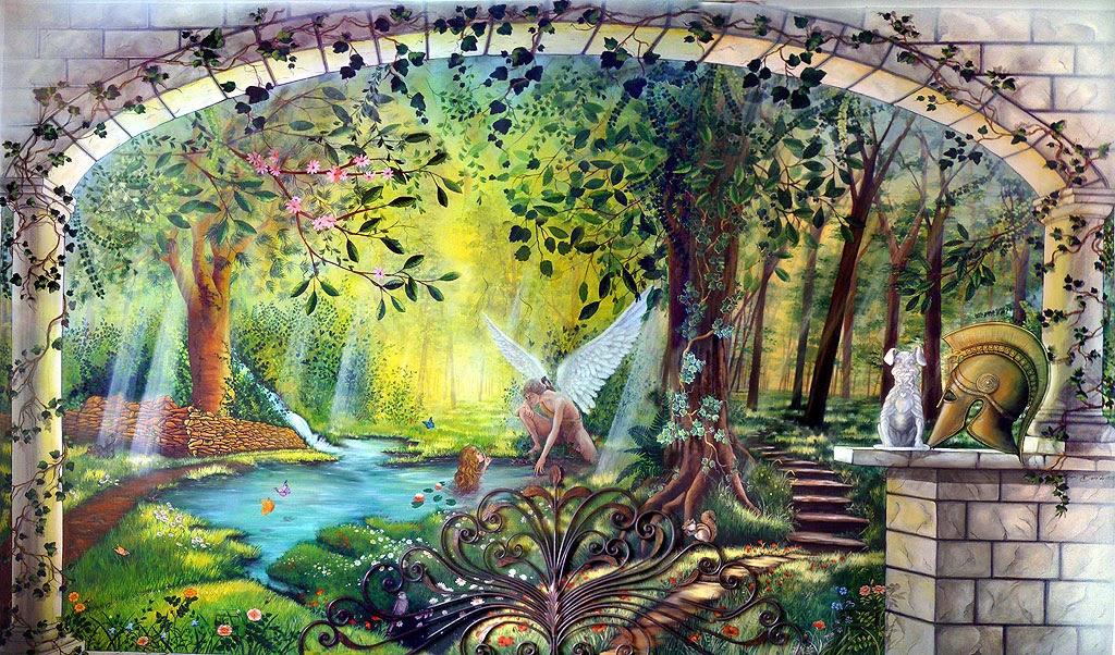 Artefantasy trompe l 39 oeil di un paesaggio incantato - Dipinti murali per interni ...