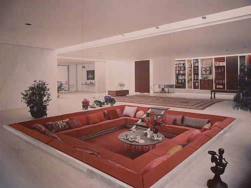 conversation pit miller house saarinen