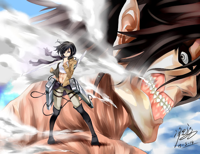 Mikasa Ackerman Eren Titan Form Attack on Titan Shingeki no Kyojin Anime HD Wallpaper Desktop PC Background a39