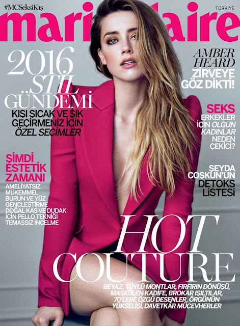 Actress, @ Amber Heard  Marie Claire Turkey, January 2016