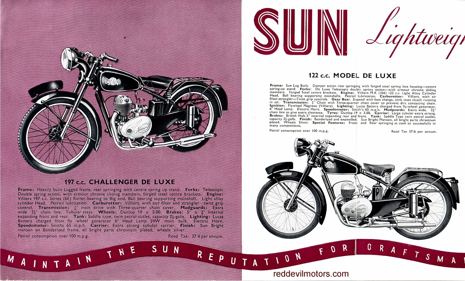 Vincent motorcycle brochure 1952 front cover - 1952 Sun Motorcycles Brochure Centre Spread Pt 1